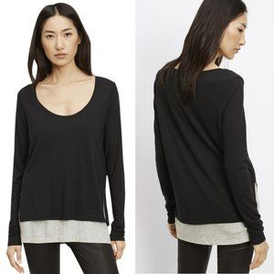 Vince Long Sleeve Double Layer Colorblock Tee